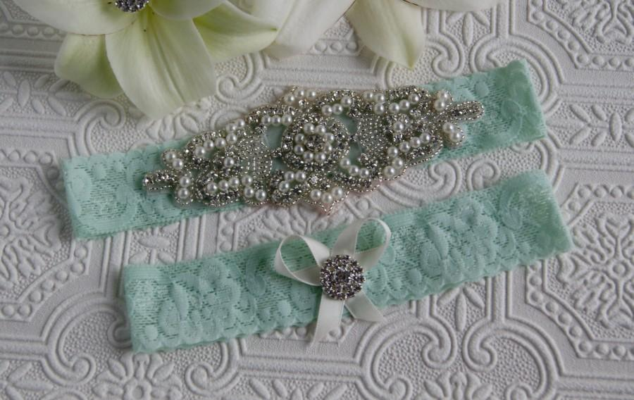 Mariage - Bridal garter set/Rhinestone garter/Lace garter/Prom garter/bridal fashion/ something blue/mint green garter/mint garter/garter set