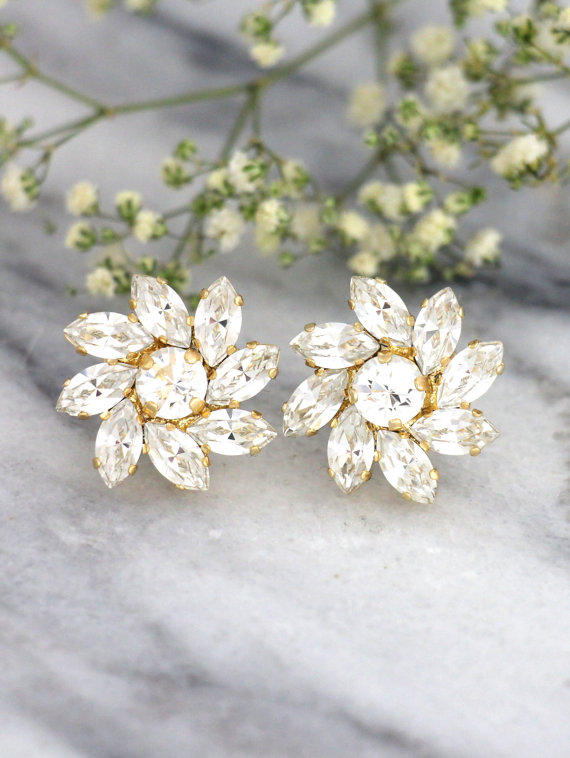 Wedding - Bridal Earrings, Cluster Earrings, Crystal Bridal Studs, Swarovski Earrings, Bridesmaids Earrings, Clear Crystal Earrings, Bridal Studs