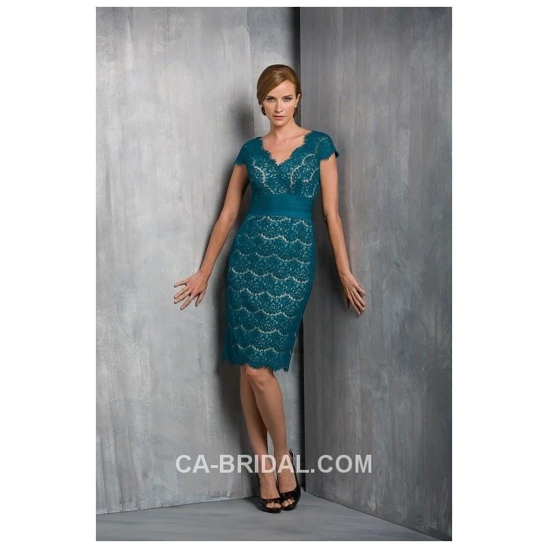 Wedding - Delicate Sheath/Column Elegant V-neck Short Sleeves Knee-length Lace Mother Dress Of The Groom - dressosity.com