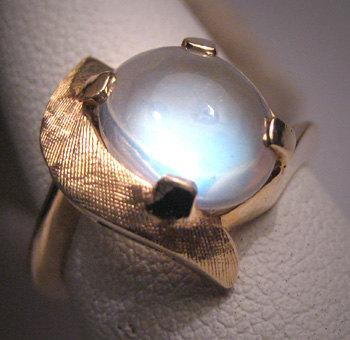 Wedding - Antique Moonstone Ring White Gold Vintage Art Deco 50s Wedding