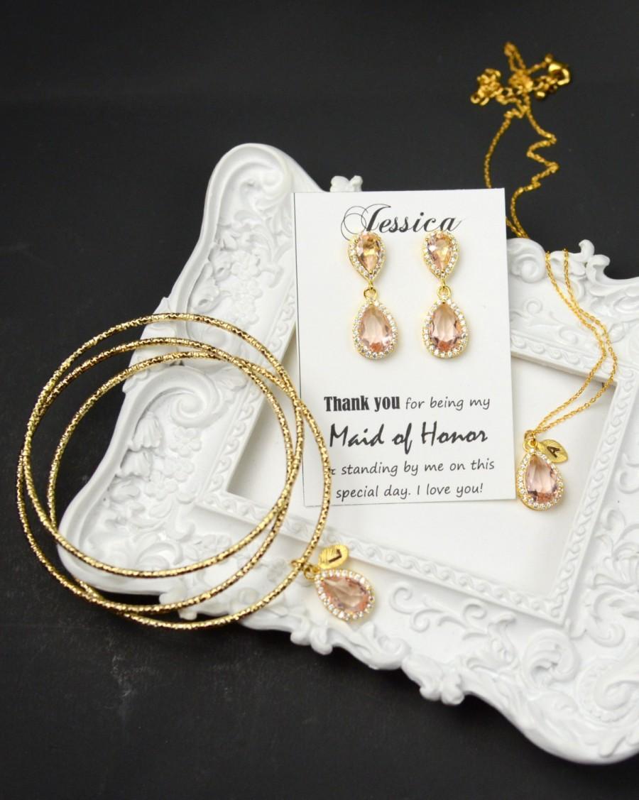 Wedding - peach champagne blush coral peach Bridesmaid Jewelry Weddings Bridesmaid Earrings Bridesmaid Gift Bridal Earrings Jewelry Wedding Jewelry