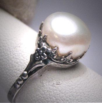 Wedding - Antique Pearl Wedding Ring Victorian Art Deco 20s Engagement