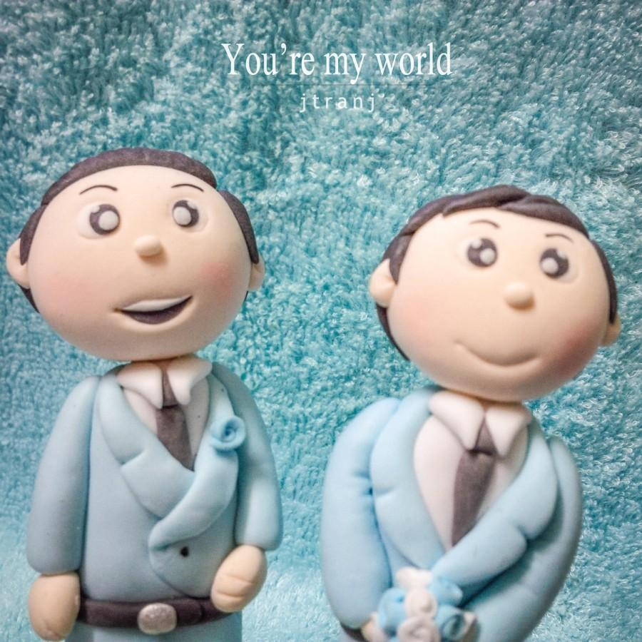 Hochzeit - Gay Wedding Cake topper clay doll , Same sex Clay Couple wedding clay figurine decoration
