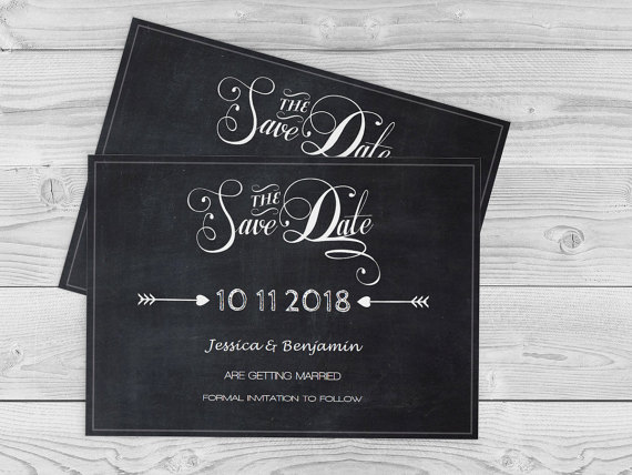 Wedding - Chalkboard Save-the-Date Template - Calligraphy Handlettered Printable Save Date Printable Editable PDF Templates Download - DIY You Print