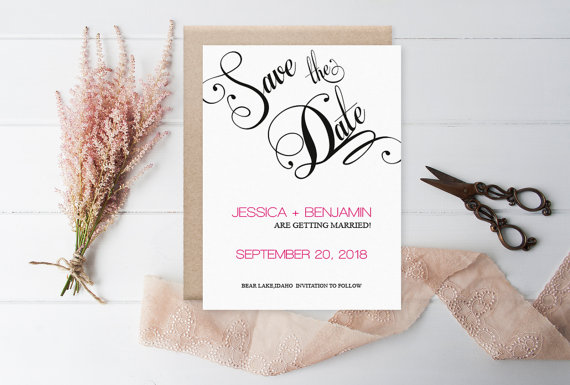 Hochzeit - Calligraphy Save the Date Template - Black Calligraphy Handlettered Wedding Save the Date Printable Template - Editable PDF - DIY You Print