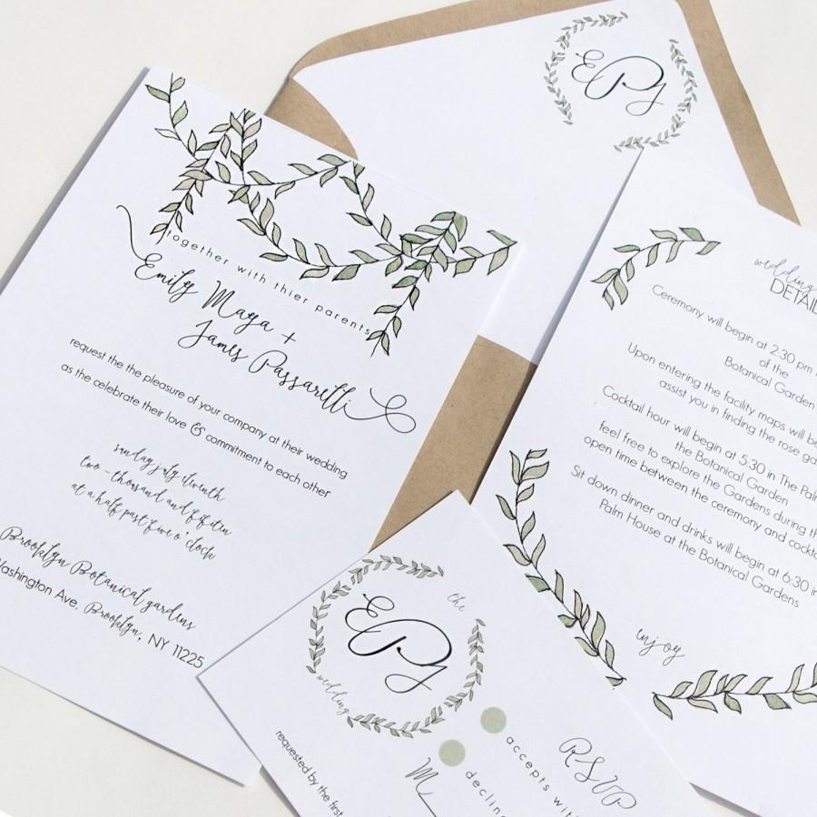 Greenery Wedding Invitation, Wedding Invitation Greenery, Rustic ...
