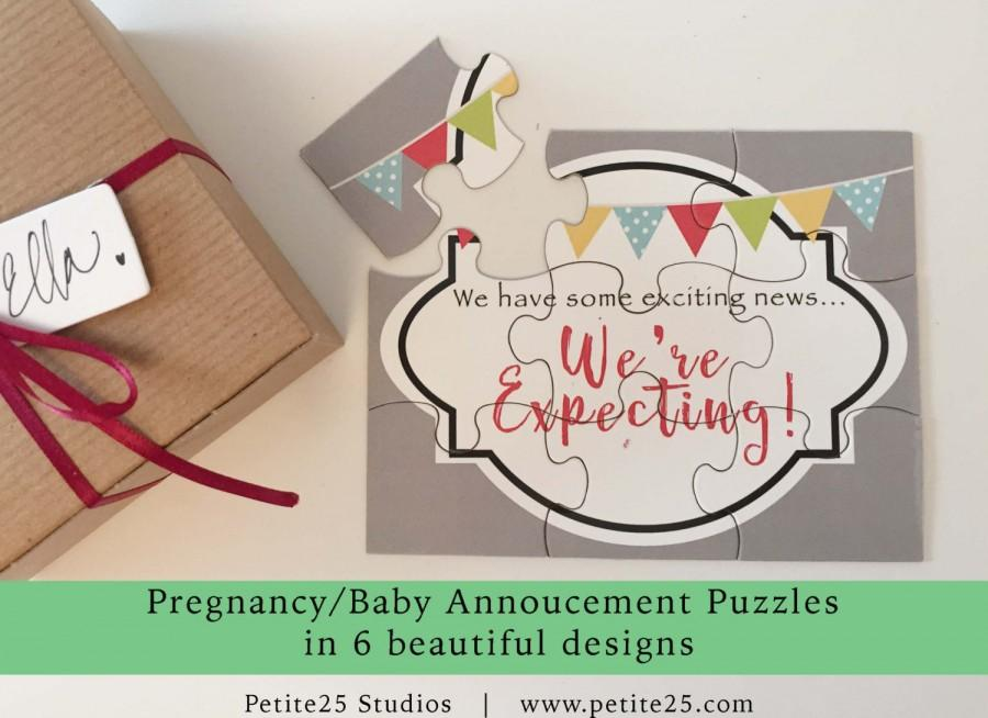 Pregnancy Baby Announcement Puzzle Were Expecting Pennant You – Baby Announcement to Parents