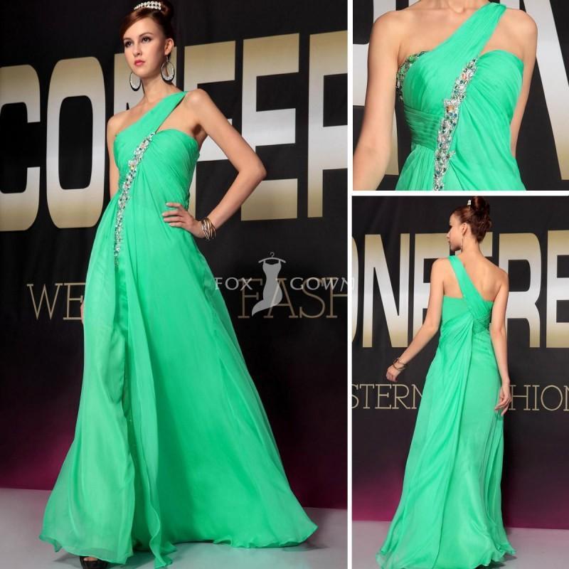 Stilvolle Grüne Lange Prom Kleid Mit One-Armband Und Crystal Am ...