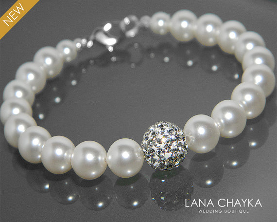 Wedding - White Pearl Bridal Bracelet Swarovski Pearl Silver Wedding Bracelet White Pearl Bracelet Wedding Pearl Jewelry Bridal Bridesmaids Bracelet
