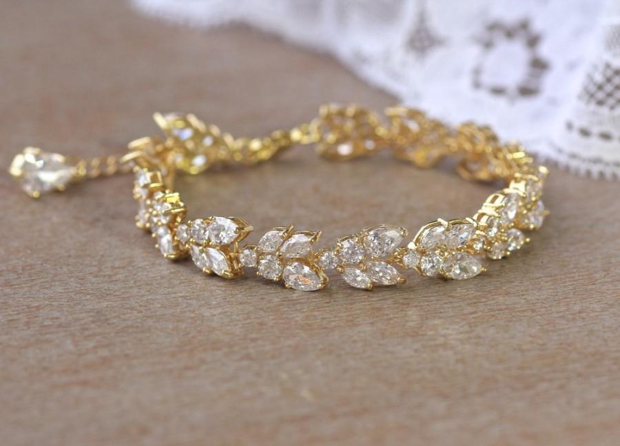 Gold Crystal Bridal Bracelet, Marquise Crystal Bracelet, Crystal ...