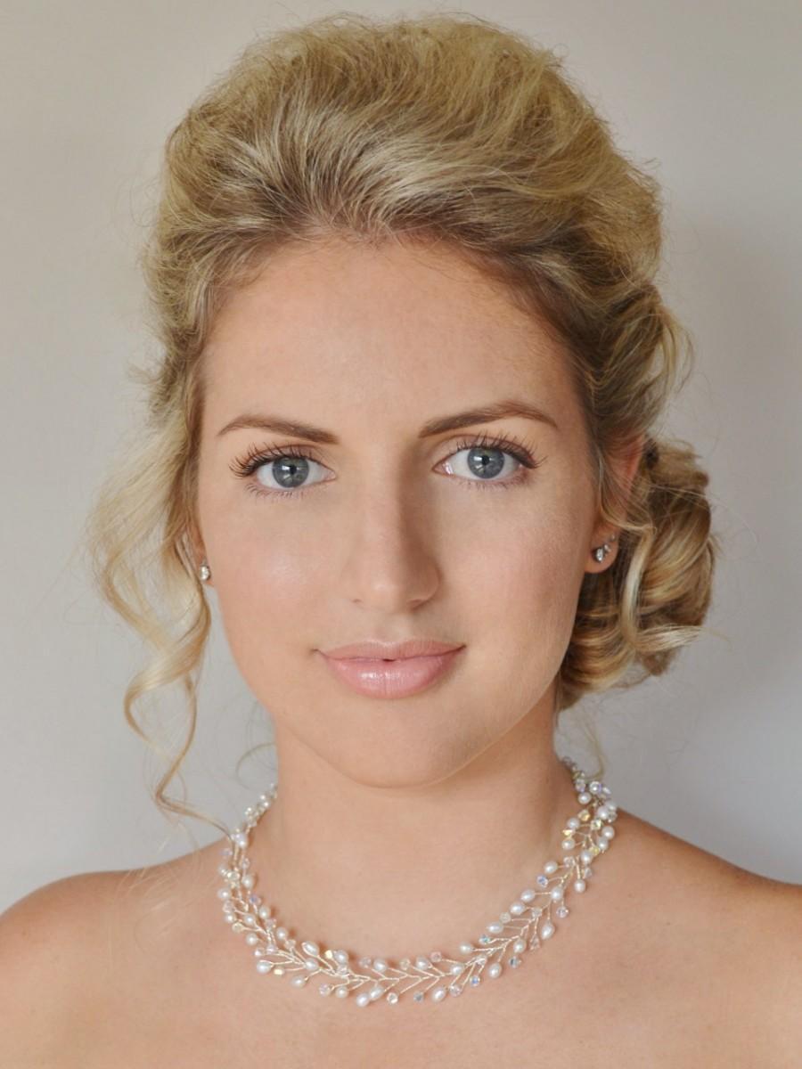 زفاف - Freshwater Pearl Bridal Necklace, Crystal Wedding Necklace, Pearl Crystal Bridal Necklace, Bridal Jewellery, Pearl Vine Necklace