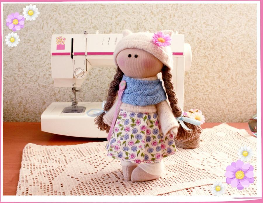 Wedding - tilde doll rag doll handmade Christmas gift souvenir doll cute doll 2016 trends doll pink white and games  gift idea dolls and figurines