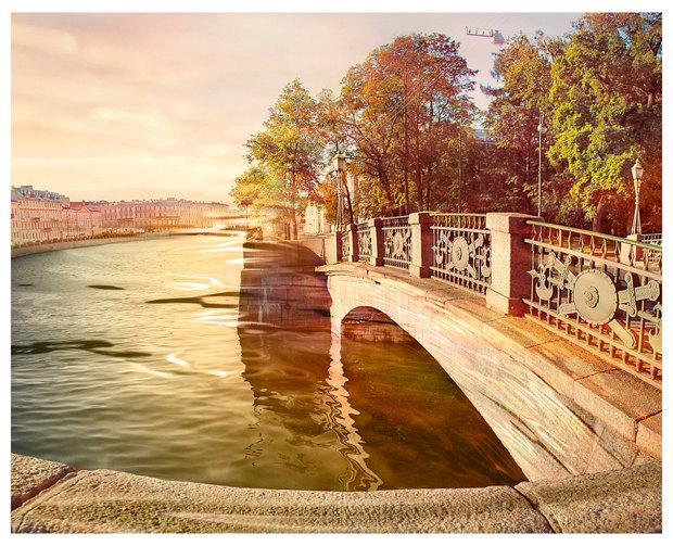 Свадьба - Autumn City landscape fine art photography, square large wall art 20x20 print, water color St Petersburg, living room art, 12x12, 16x16, 8x8