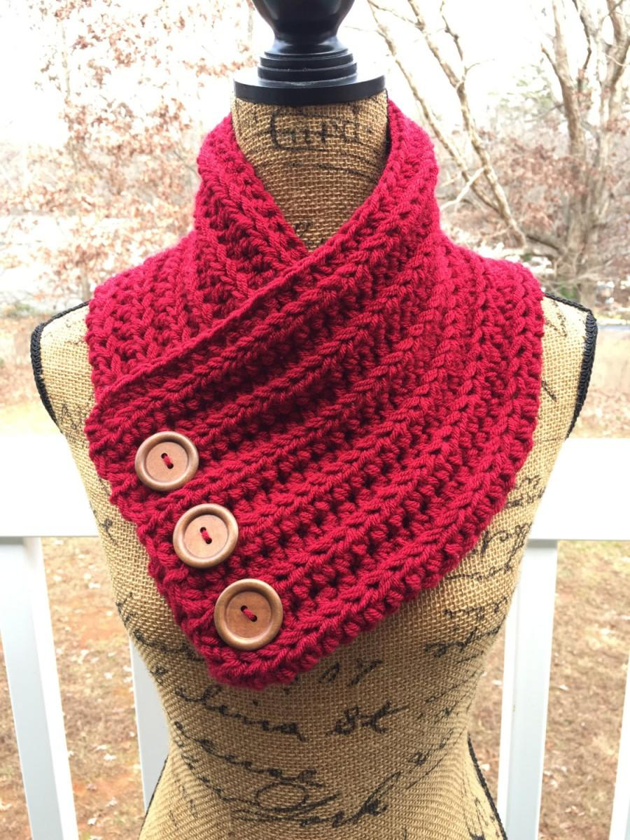 Ready To Ship Cranberry Button Cowl Scarf Crochet Knit Womens