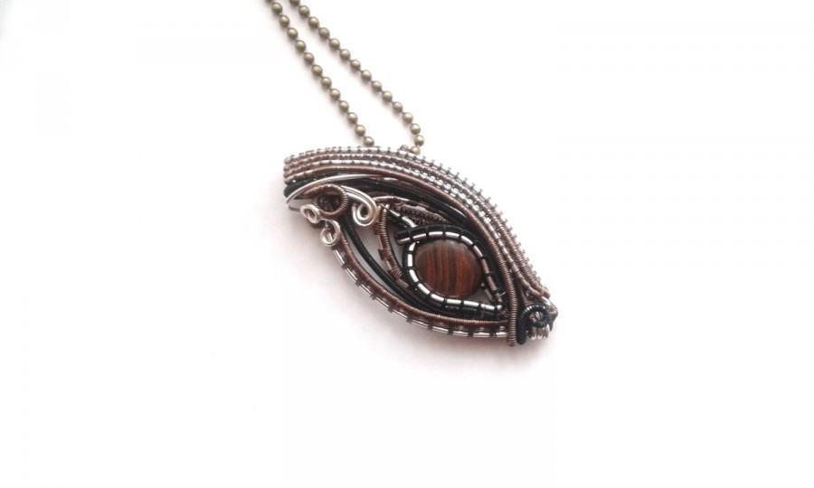 Wedding - Dragon Eye Necklace, Wire Weaved Boulder Opal , Unique Fantasy Jewelry, Handmade Dragon Jewellery, Dragon Gift Idea, OOAK Gemstone Jewelry