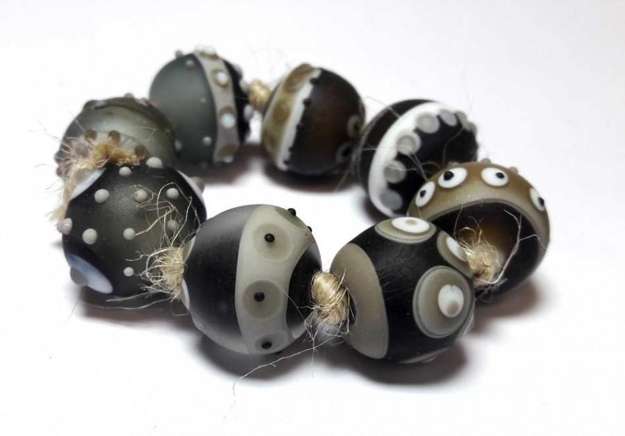 Wedding - Lampwork Glass bead handmade Beads black and white, gray, dark gray, frosting.