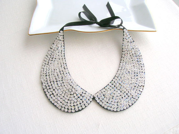 Wedding - Silver Sequined Collar Necklace, Peter Pan Necklace,  Handicrafts Necklace, Nuray