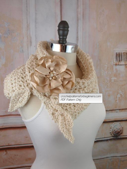 Свадьба - Crochet Cowl Pattern Crochet Scarf Pattern Flower Split Cowl Easy Crochet Pattern Wedding Crochet Pattern Neck Warmer Scarf Infinity Scarf