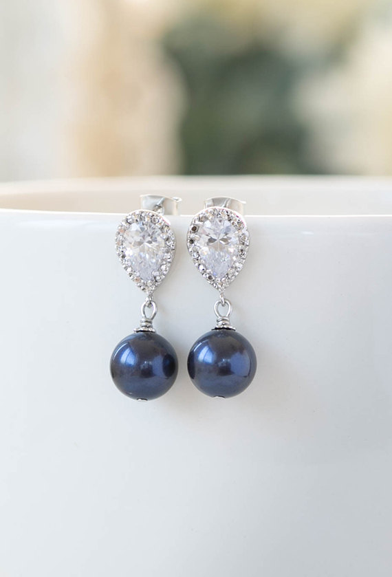Wedding - Navy BLue Wedding Bridal Pearl Earrings Silver Plated Cubic Zirconia CZ Crystal Dark BLue Pearl Post Earrings Navy Wedding Bridesmaid Gift
