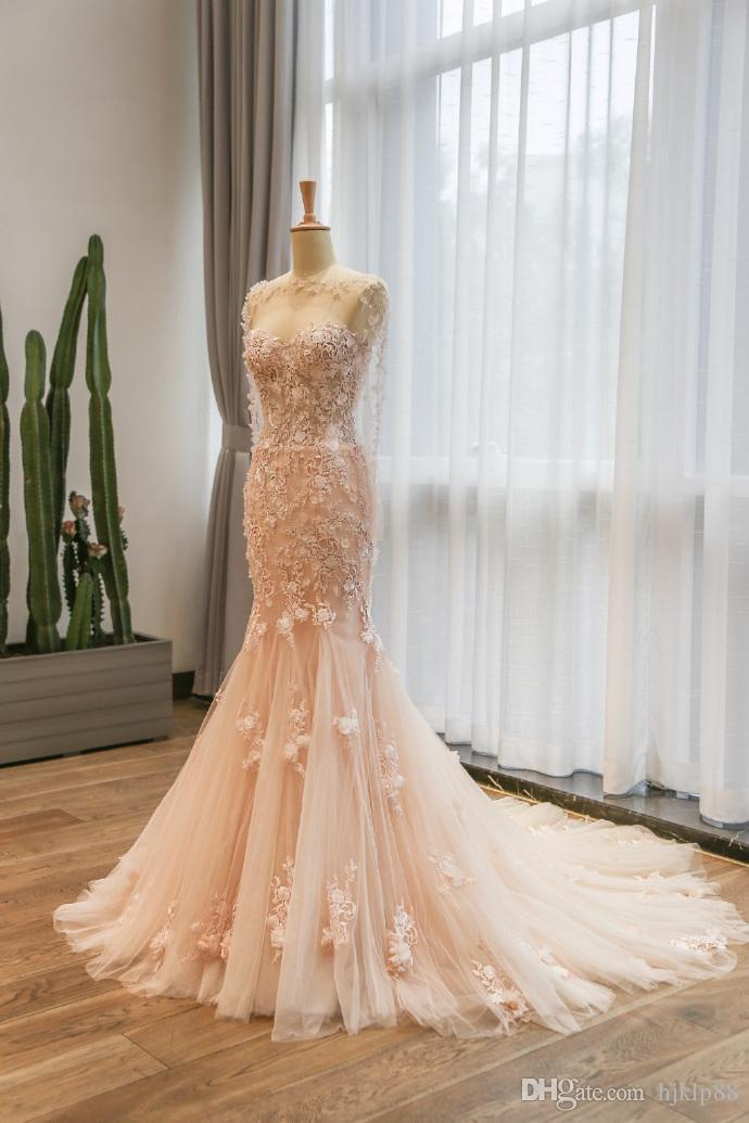 Wedding - Elegant Mermaid Lace Wedding Dresses Pink Wedding Gown Sweetheart Neckline Bridal Gown Flowers Beaded Wedding Dress Lace Luxury Illusion Online with $195.43/Piece on Hjklp88's Store