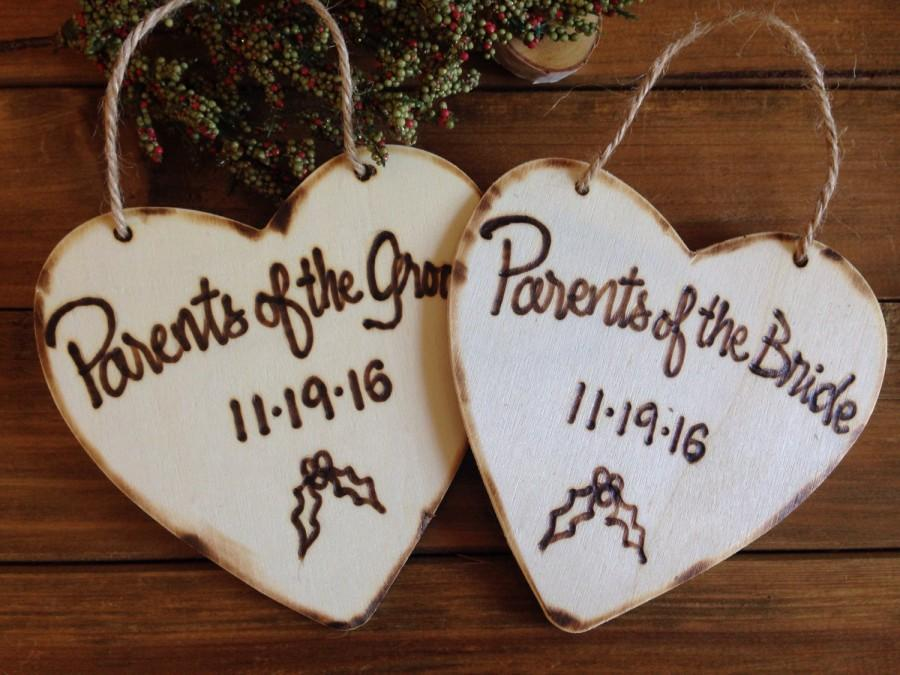Hochzeit - Christmas Ornaments for Parents of the Bride and Groom with YOUR Wedding Date First Christmas for Newlyweds Wood Hearts