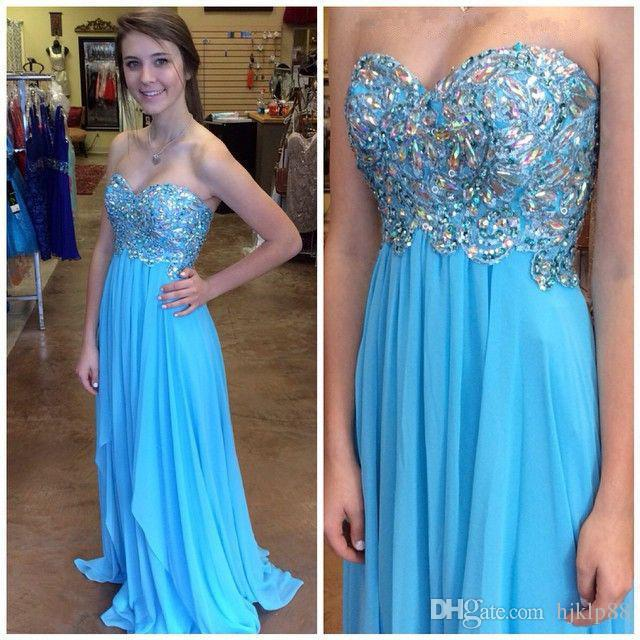 Long Chiffon Evening Dress Blue Crystal Evening Dresses A Line Prom