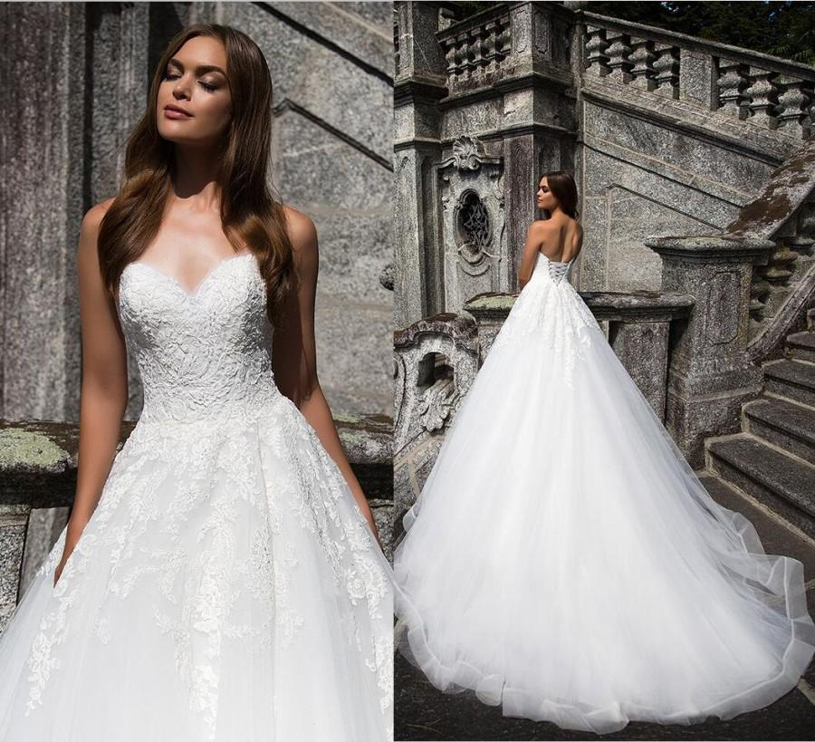 Wedding - Milla Nova SAVOI 2017 Lace Applique Plus Size Sweetheart Wedding Dresses Tulle Backless Bridal Dress Vintage Lace Up Wedding Gowns Cheap Lace Luxury Illusion Online with $165.72/Piece on Hjklp88's Store
