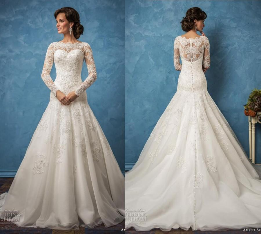 Amelia sposa 2017 wedding dresses long sleeve mermaid lace for Long sleeve mermaid wedding dresses 2017