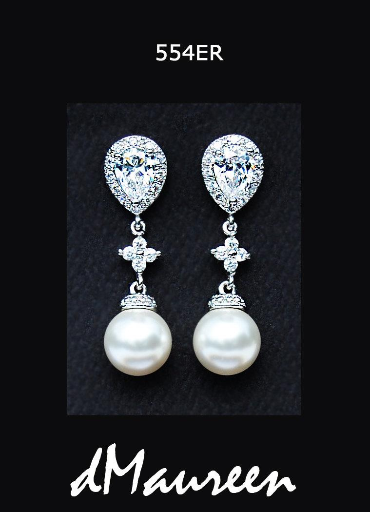 Pearl Bridal Jewelry 554er White Pink Blue Black Pearls Floral Cz Bridal  Earrings White Gold Earrings White Gold Wedding Jewelry 4 Colors