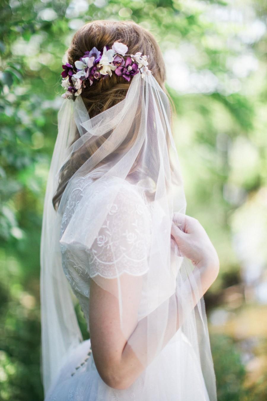 Boda - drape veil, boho veil, bohemian wedding veil, tulle veil, bridal veils and headpieces, wedding veil, ivory bridal veil, veil only