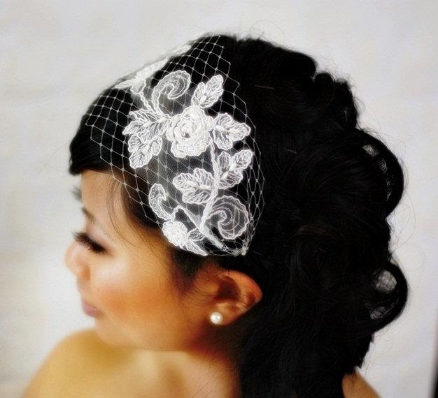 Wedding - Venetian Bandeau Birdcage Veil with Bridal Lace (READY TO SHIP)