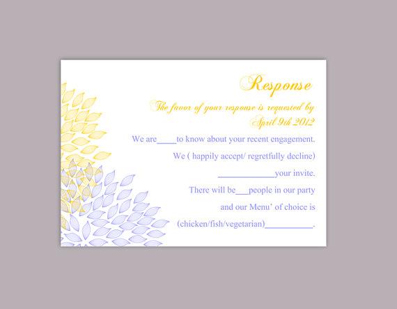 Hochzeit - DIY Wedding RSVP Template Editable Text Word File Download Rsvp Template Printable RSVP Card Yellow Blue Rsvp Card Template Floral Rsvp Card