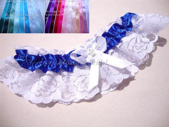 Hochzeit - Lace Garter, Royal Blue Garter, Royal Blue Bridal Garter, Wedding Garter