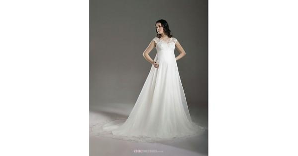 Mariage - A-line/Princess Maternity Wedding Dress - Ivory Court Train V-neck Lace/Organza