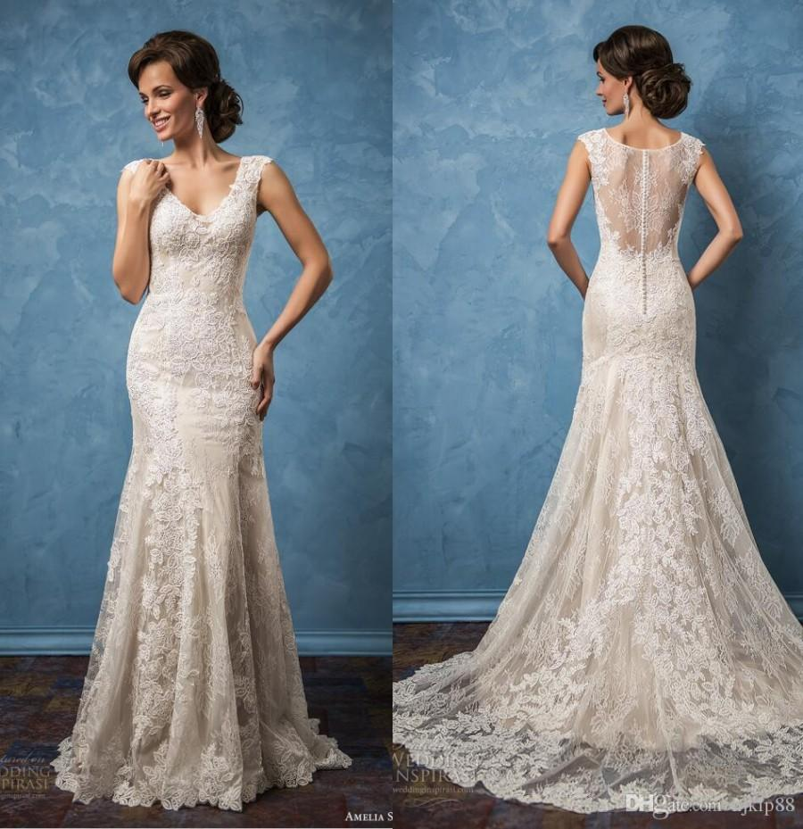 New Arrival Amelia Sposa 2017 Sexy Wedding Dresses V Neck Illusion ...