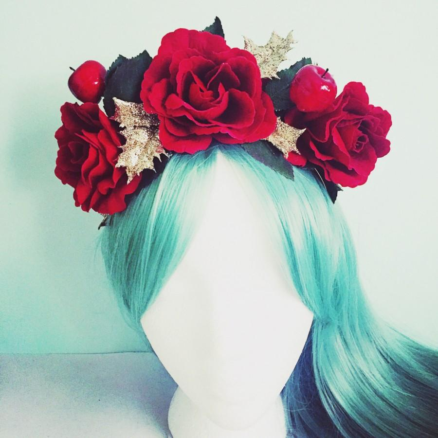 Christmas Headband Christmas Crown Flower Crown Red Rose Gold