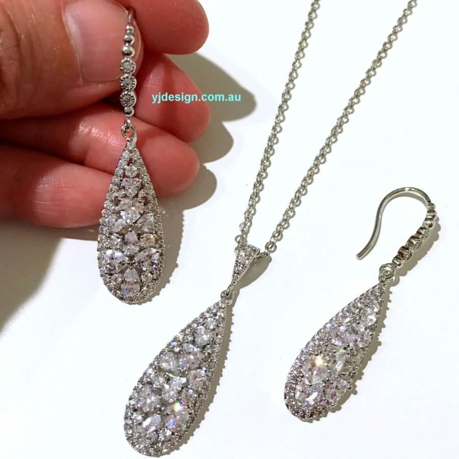 Свадьба - Cz Bridal Jewelry Set, Dangle Bridal Earrings, Teardrop Bridal Necklace, Silver Wedding Jewelry, Cubic Zirconia Wedding Earrings, TARA