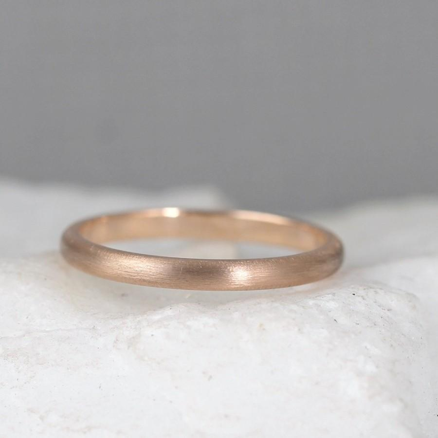 Свадьба - 2mm 14K Rose Gold Wedding Band – Men's or Ladies Wedding Rings – Matte Finish – Pink Gold – Commitment Rings – Classic Rounded Bands