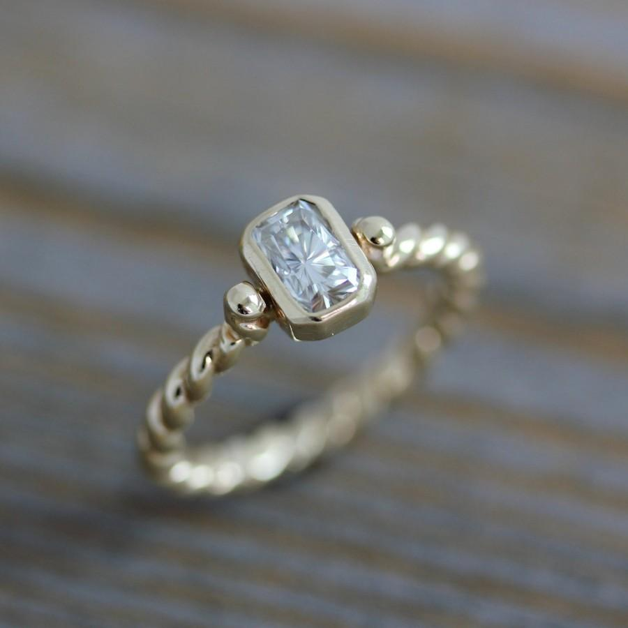 Свадьба - Moissanite Engagement Ring, A Diamond Alternative in Recycled 14k Yellow Gold