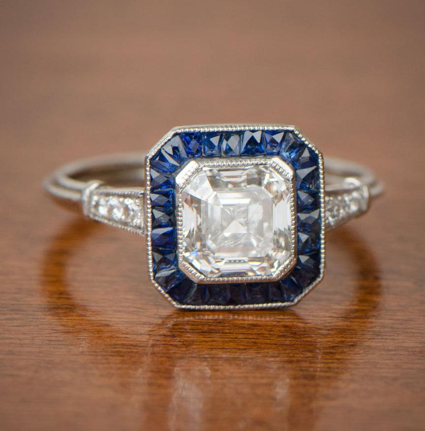 Свадьба - 1.80ct Asscher Cut Diamond and Sapphire Engagement Ring. GIA 1.80 Carat, H color, VVS2. GIA certified. Handmade Platinum Mounting.