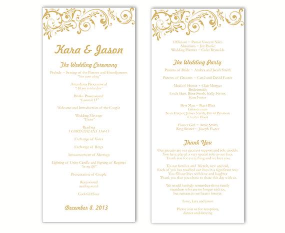 Wedding Program Template DIY Editable Word File Instant Download - Editable wedding program templates