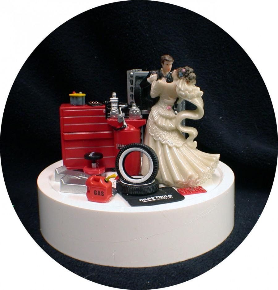 Funny Groom Mechanic Cake Topper