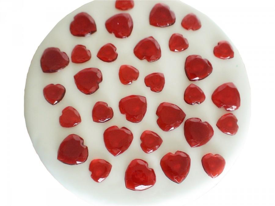 Mariage - edible sugar gem hearts  set of 60