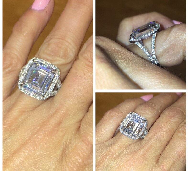 Emerald Cut Engagement Ring 18kt Gold 11X13 Russian Diamond Simulate Center Stone D Flawless With Genuine Diamonds Shank Halo Wedding Band