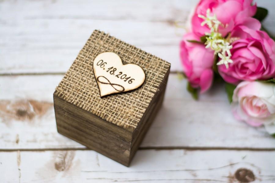 Wedding Ring Box Rustic Ring Bearer Burlap Personalized Infinity