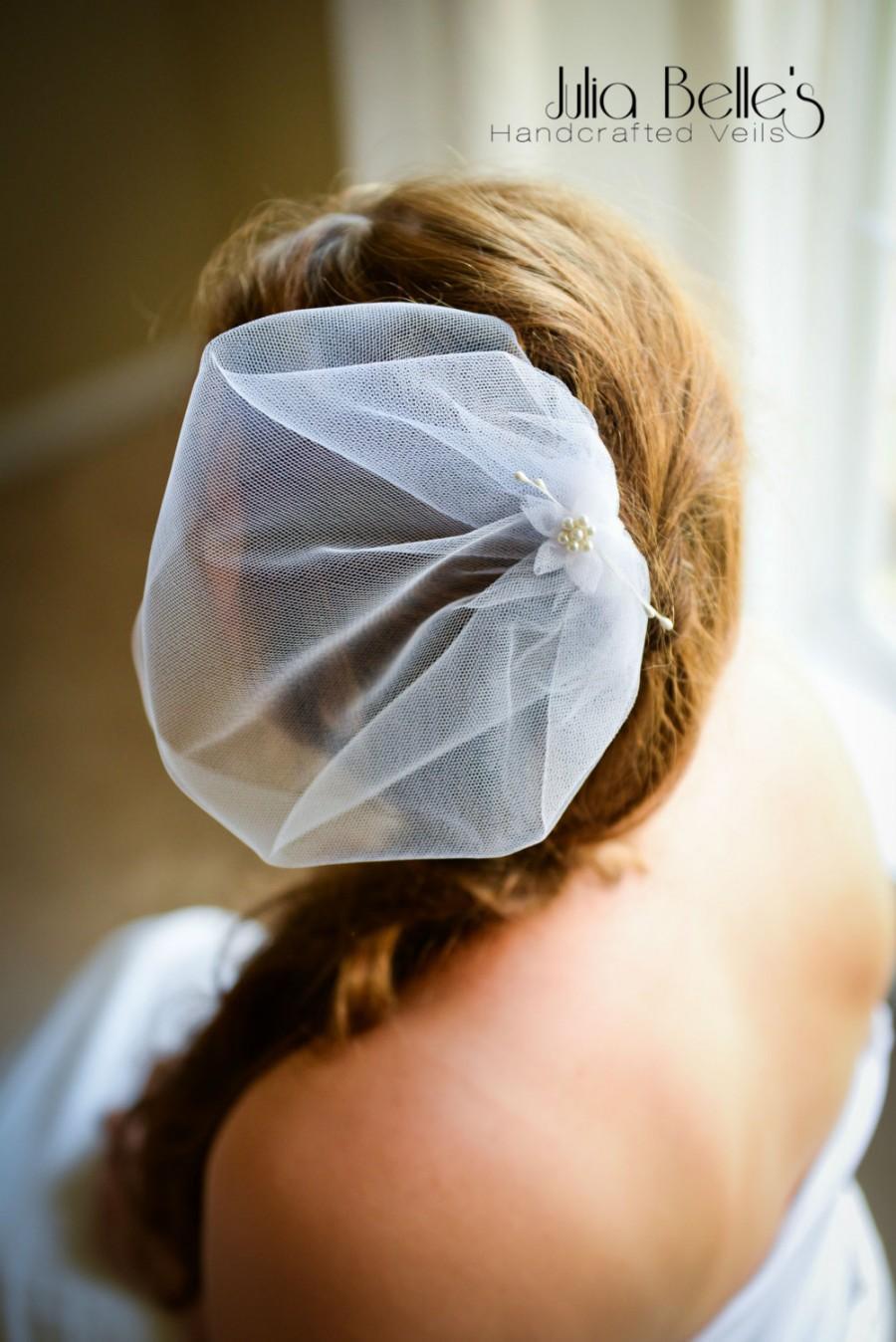 Hochzeit - MIA Tulle Birdcage Veil with Delicate Flower