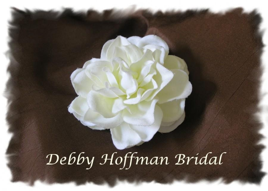 زفاف - Gardenia Flower Bridal Hair Clip, Wedding Flower Hair Comb, Flower Wedding Headpiece, Flower Brooch Pin, Bridal Wedding Hair Piece Flower