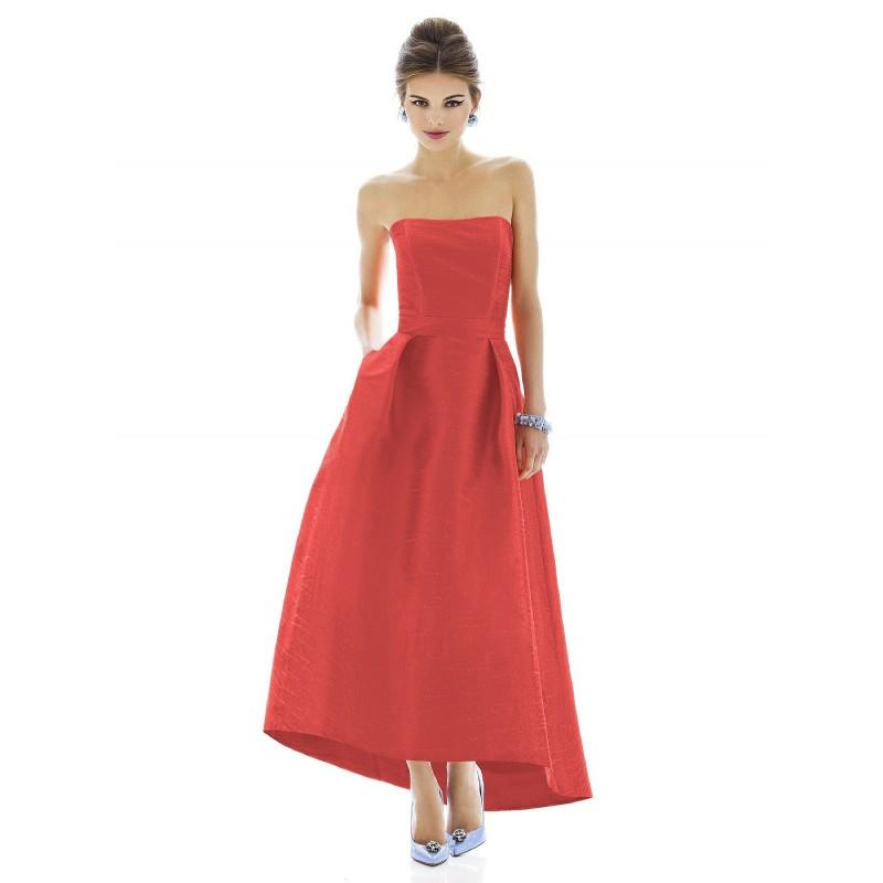 Alfred Sung By Dessy D583 Strapless Floor Length High Low Bridesmaid ...