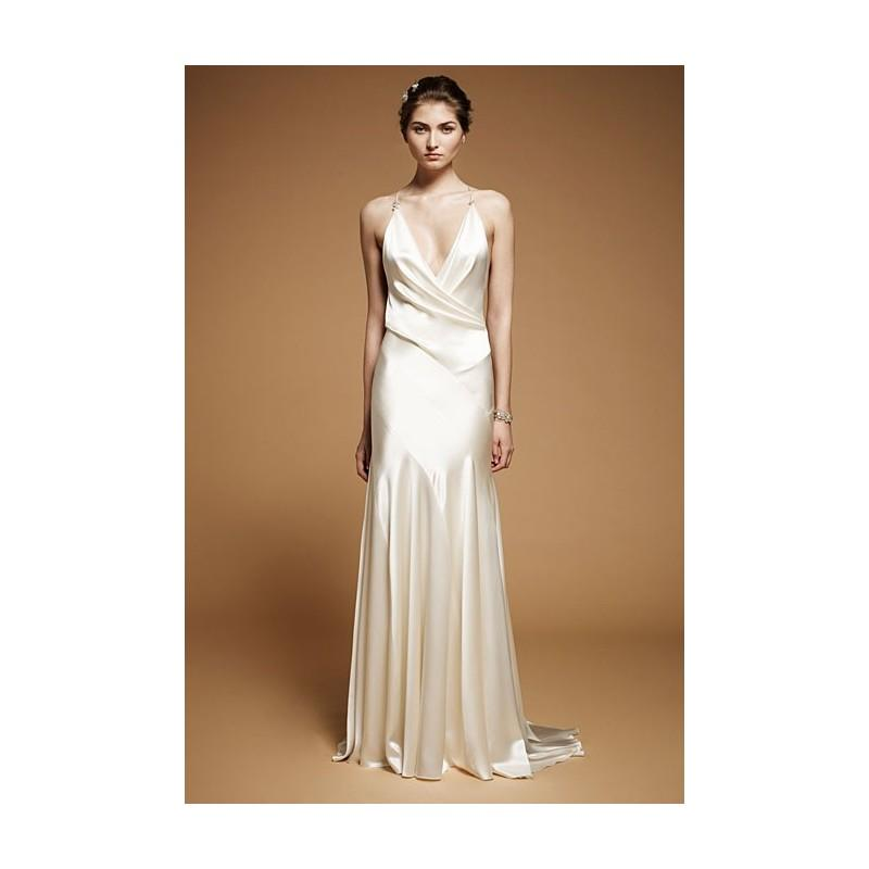 Jenny packham fall 2012 drew sleeveless silk satin for Satin silk wedding dresses