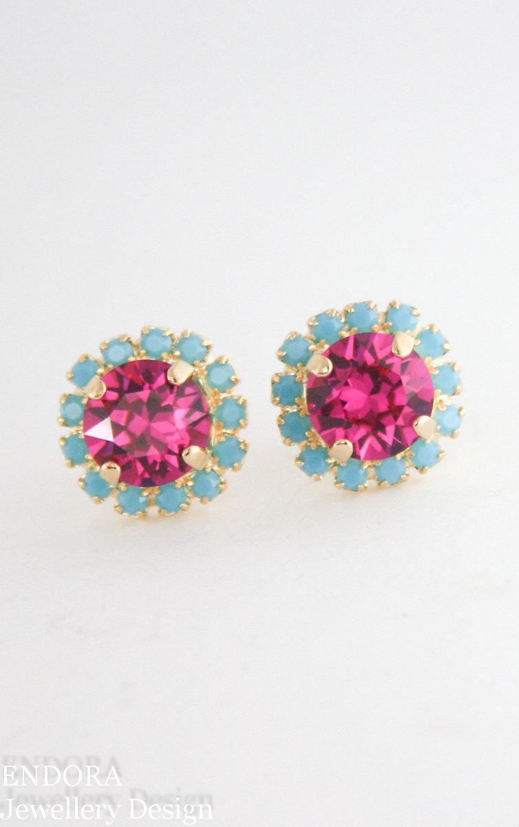 Свадьба - Fuchsia turquoise gold crystal earrings,fuchsia earrings,turquoise earrings,crystal earrings,gold crystal earrings,bridesmaid earrings,hot